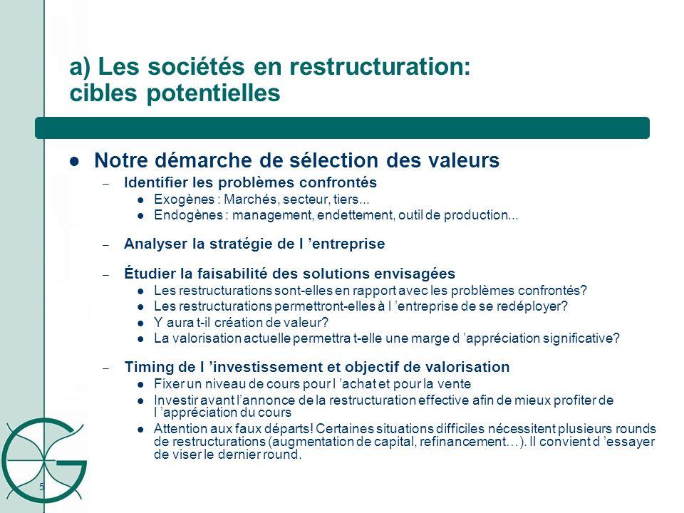 5 a) Les sociétés en restructuration: cibles potentielles Notre démarche de sélection des valeurs – Identifier les problèmes confrontés Exogènes : Mar