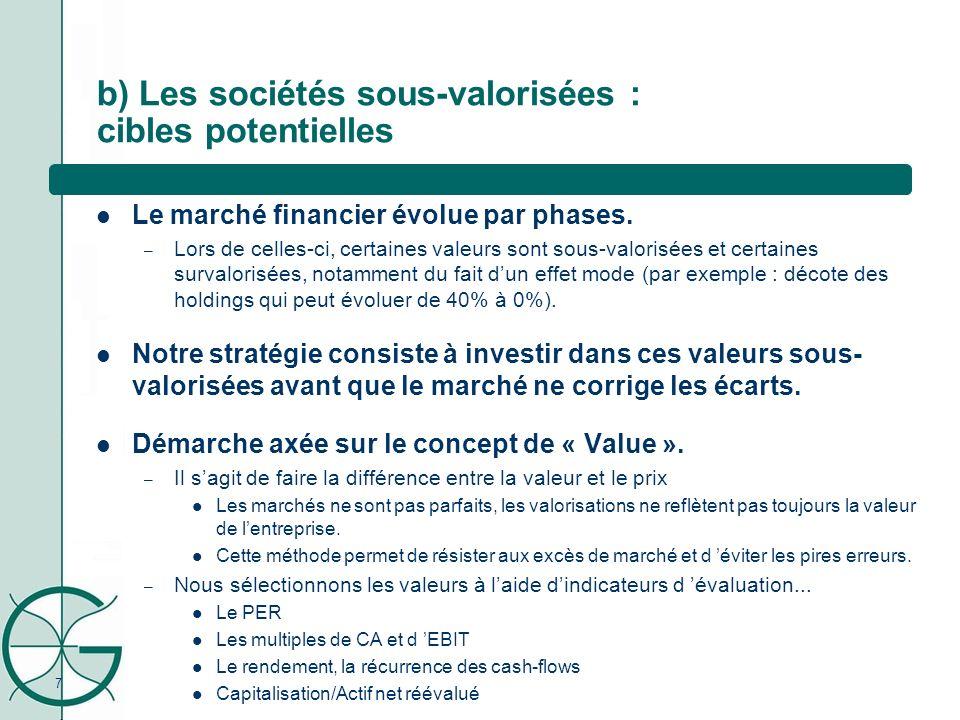7 b) Les sociétés sous-valorisées : cibles potentielles Le marché financier évolue par phases. – Lors de celles-ci, certaines valeurs sont sous-valori