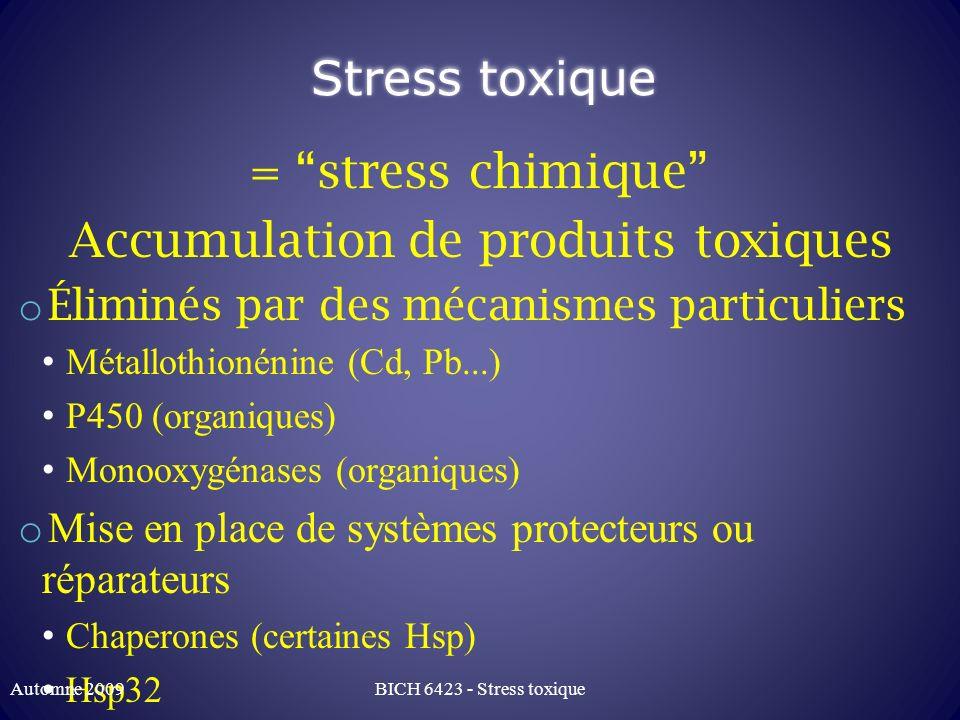 Stress toxique = stress chimique Accumulation de produits toxiques o Éliminés par des mécanismes particuliers Métallothionénine (Cd, Pb...) P450 (orga