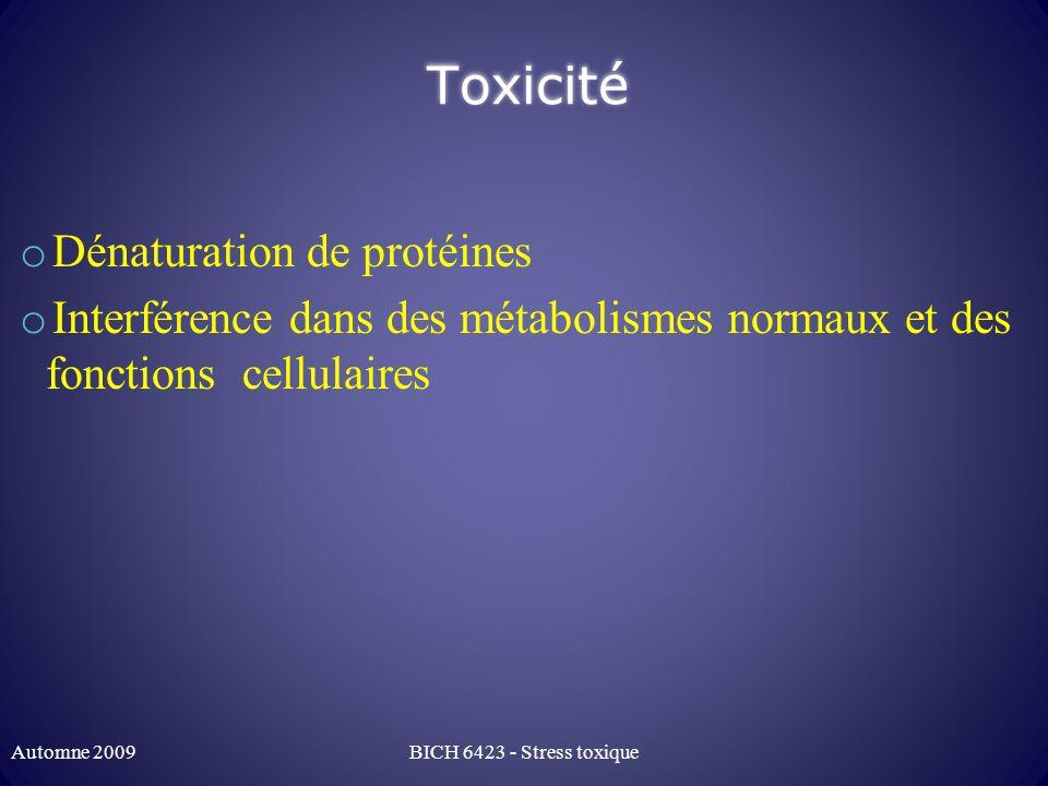 Toxicité o Dénaturation de protéines o Interférence dans des métabolismes normaux et des fonctions cellulaires Automne 2009BICH 6423 - Stress toxique
