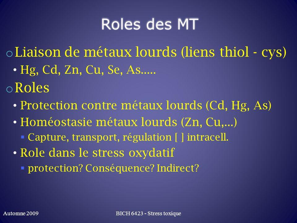 Roles des MT o Liaison de métaux lourds (liens thiol - cys) Hg, Cd, Zn, Cu, Se, As..... o Roles Protection contre métaux lourds (Cd, Hg, As) Homéostas