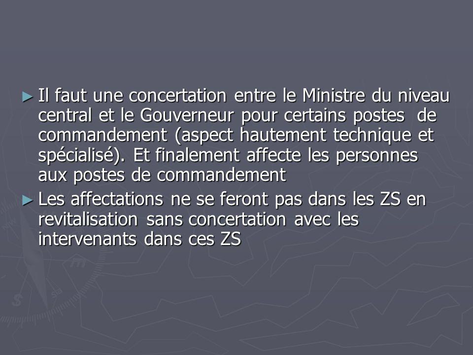 Il faut une concertation entre le Ministre du niveau central et le Gouverneur pour certains postes de commandement (aspect hautement technique et spéc