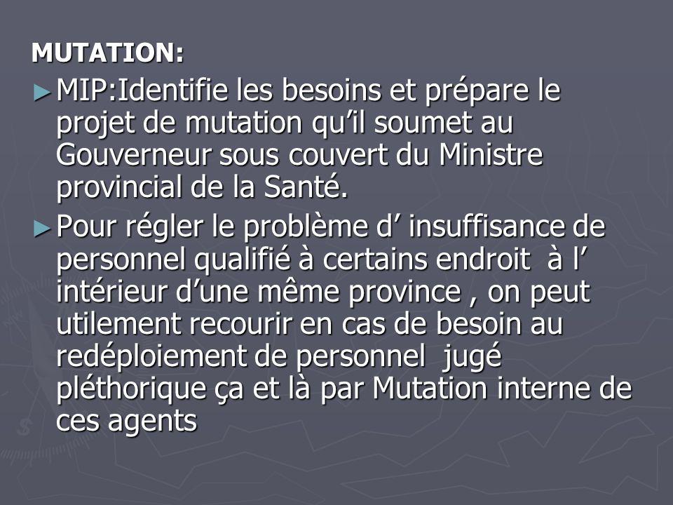 MUTATION: MIP:Identifie les besoins et prépare le projet de mutation quil soumet au Gouverneur sous couvert du Ministre provincial de la Santé. MIP:Id
