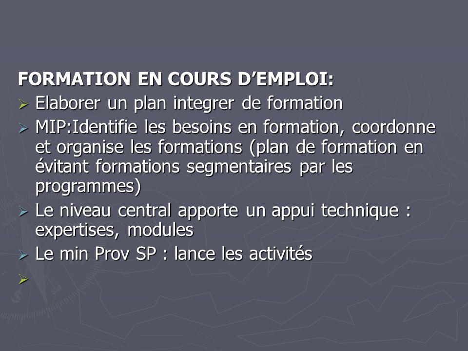 FORMATION EN COURS DEMPLOI: Elaborer un plan integrer de formation Elaborer un plan integrer de formation MIP:Identifie les besoins en formation, coor
