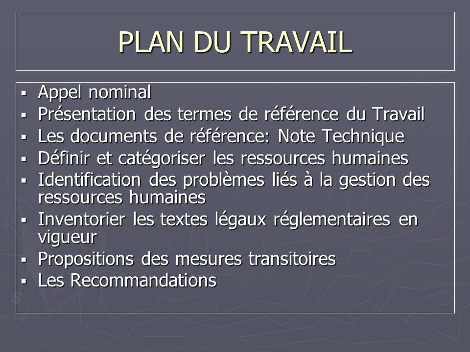 PLAN DU TRAVAIL Appel nominal Appel nominal Présentation des termes de référence du Travail Présentation des termes de référence du Travail Les docume