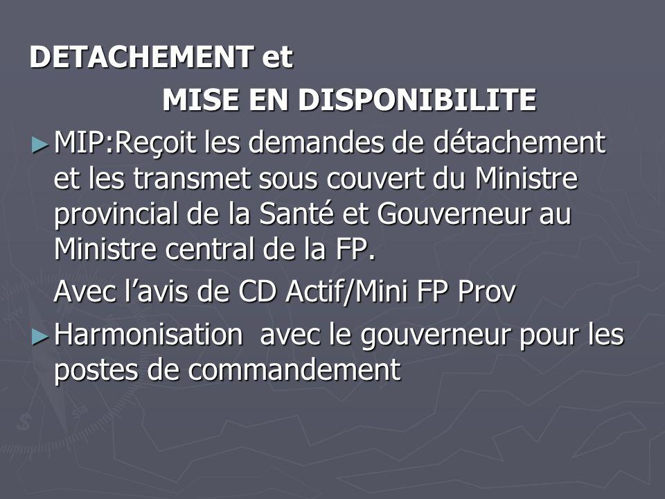 DETACHEMENT et MISE EN DISPONIBILITE MIP:Reçoit les demandes de détachement et les transmet sous couvert du Ministre provincial de la Santé et Gouvern