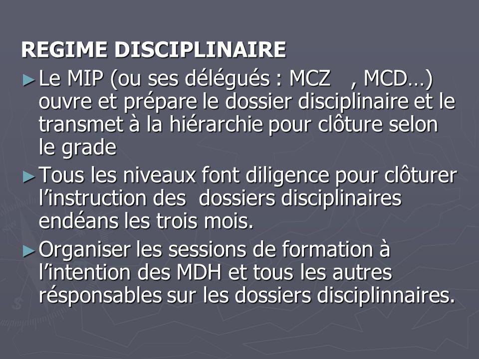 REGIME DISCIPLINAIRE Le MIP (ou ses délégués : MCZ, MCD…) ouvre et prépare le dossier disciplinaire et le transmet à la hiérarchie pour clôture selon