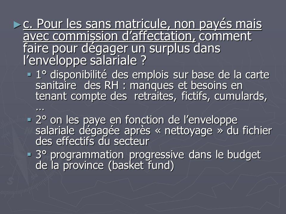c. Pour les sans matricule, non payés mais avec commission daffectation, comment faire pour dégager un surplus dans lenveloppe salariale ? c. Pour les