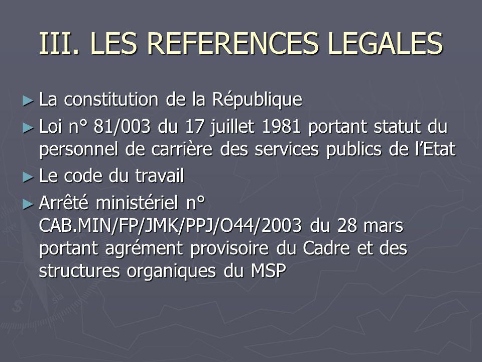 III. LES REFERENCES LEGALES La constitution de la République La constitution de la République Loi n° 81/003 du 17 juillet 1981 portant statut du perso