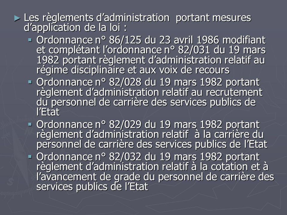 Les règlements dadministration portant mesures dapplication de la loi : Les règlements dadministration portant mesures dapplication de la loi : Ordonn