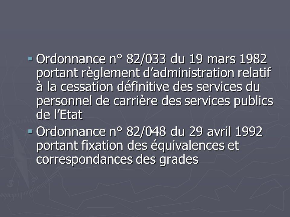 Ordonnance n° 82/033 du 19 mars 1982 portant règlement dadministration relatif à la cessation définitive des services du personnel de carrière des ser