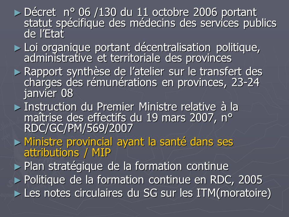 Décret n° 06 /130 du 11 octobre 2006 portant statut spécifique des médecins des services publics de lEtat Décret n° 06 /130 du 11 octobre 2006 portant