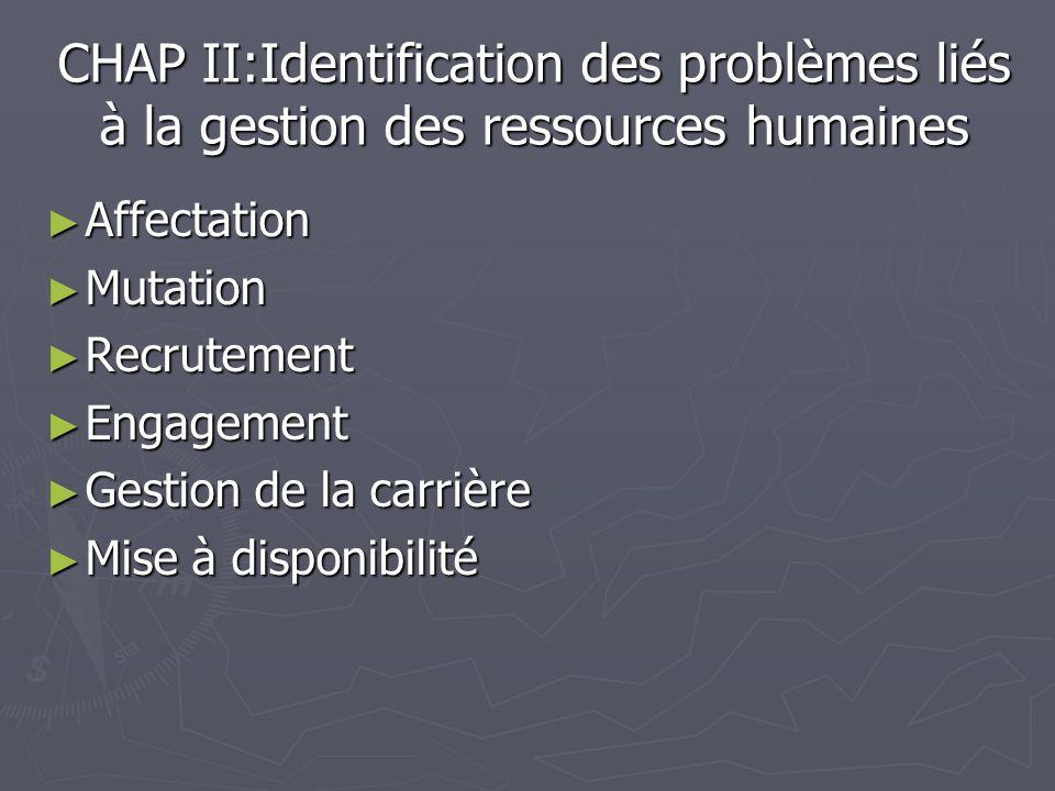 CHAP II:Identification des problèmes liés à la gestion des ressources humaines Affectation Affectation Mutation Mutation Recrutement Recrutement Engag