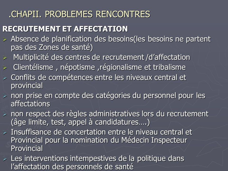 .CHAPII. PROBLEMES RENCONTRES RECRUTEMENT ET AFFECTATION Absence de planification des besoins(les besoins ne partent pas des Zones de santé) Absence d