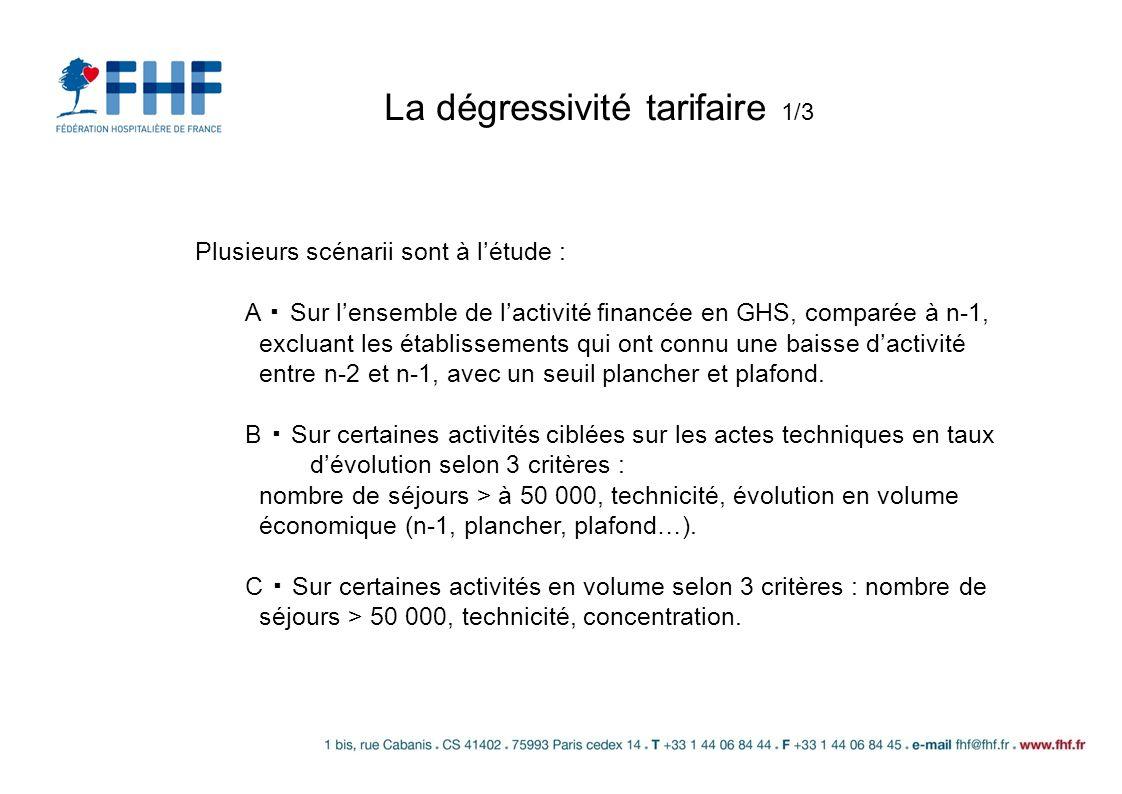 La dégressivité tarifaire 1/3 Plusieurs scénarii sont à létude : A Sur lensemble de lactivité financée en GHS, comparée à n-1, excluant les établissem