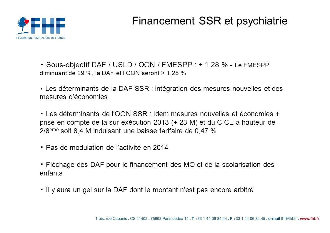 Financement SSR et psychiatrie Sous-objectif DAF / USLD / OQN / FMESPP : + 1,28 % - Le FMESPP diminuant de 29 %, la DAF et lOQN seront > 1,28 % Les dé