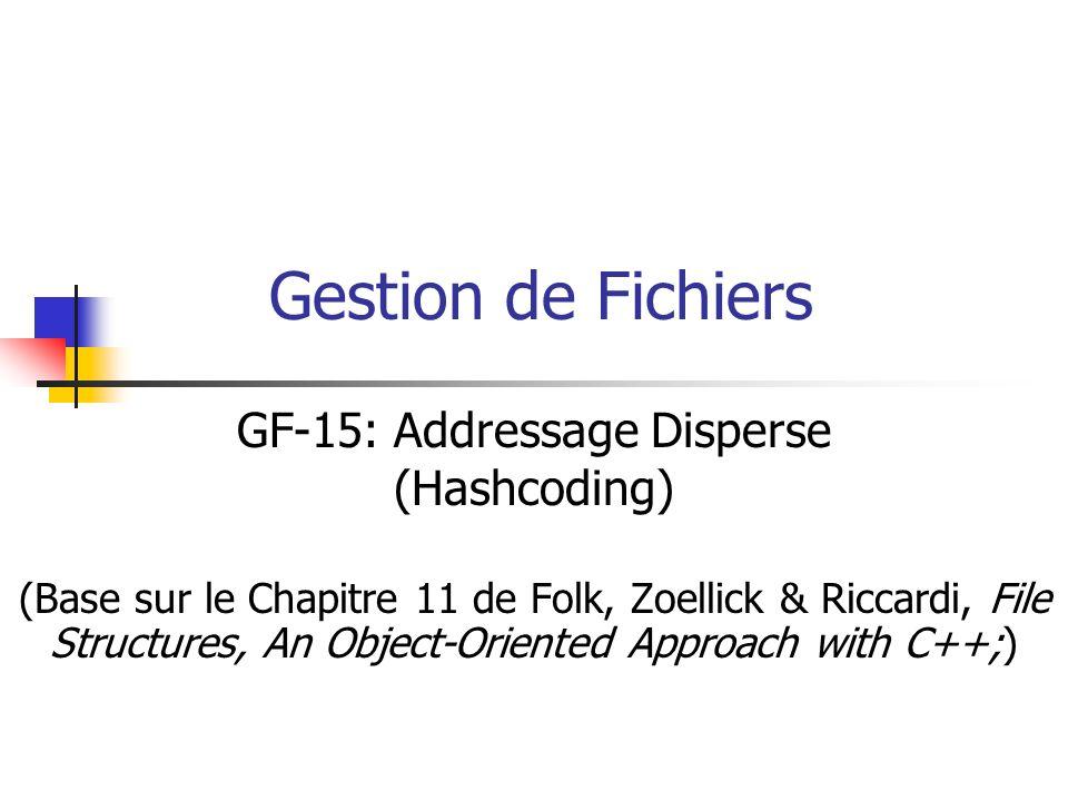 Gestion de Fichiers GF-15: Addressage Disperse (Hashcoding) (Base sur le Chapitre 11 de Folk, Zoellick & Riccardi, File Structures, An Object-Oriented