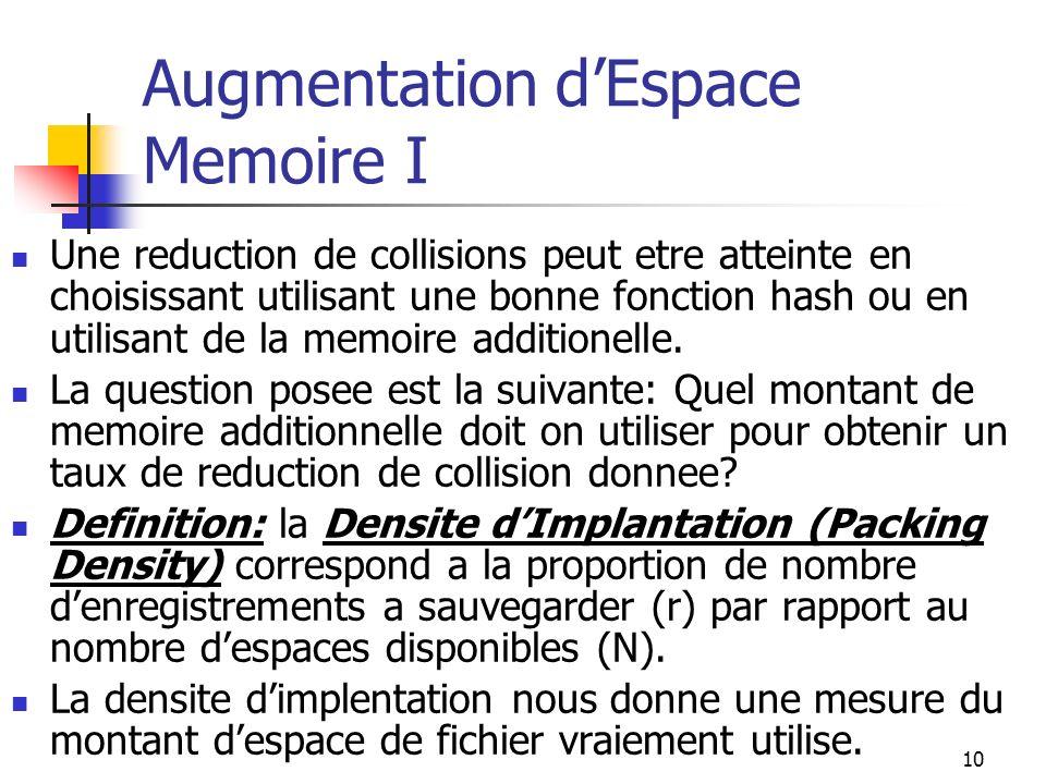 10 Augmentation dEspace Memoire I Une reduction de collisions peut etre atteinte en choisissant utilisant une bonne fonction hash ou en utilisant de la memoire additionelle.