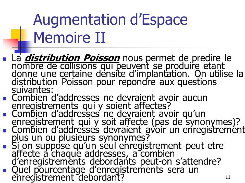 11 Augmentation dEspace Memoire II La distribution Poisson nous permet de predire le nombre de collisions qui peuvent se produire etant donne une certaine densite dimplantation.
