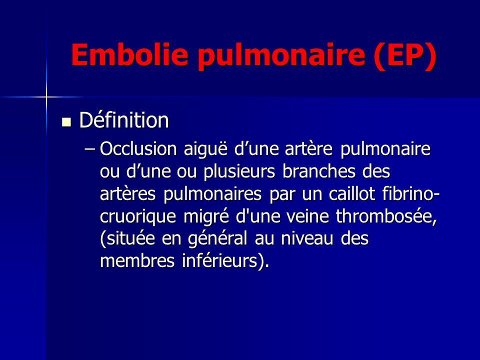 Embolie pulmonaire (EP) Définition Définition –Occlusion aiguë dune artère pulmonaire ou dune ou plusieurs branches des artères pulmonaires par un cai