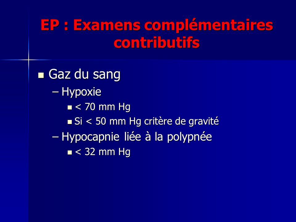 EP : Examens complémentaires contributifs Gaz du sang Gaz du sang –Hypoxie < 70 mm Hg < 70 mm Hg Si < 50 mm Hg critère de gravité Si < 50 mm Hg critère de gravité –Hypocapnie liée à la polypnée < 32 mm Hg < 32 mm Hg
