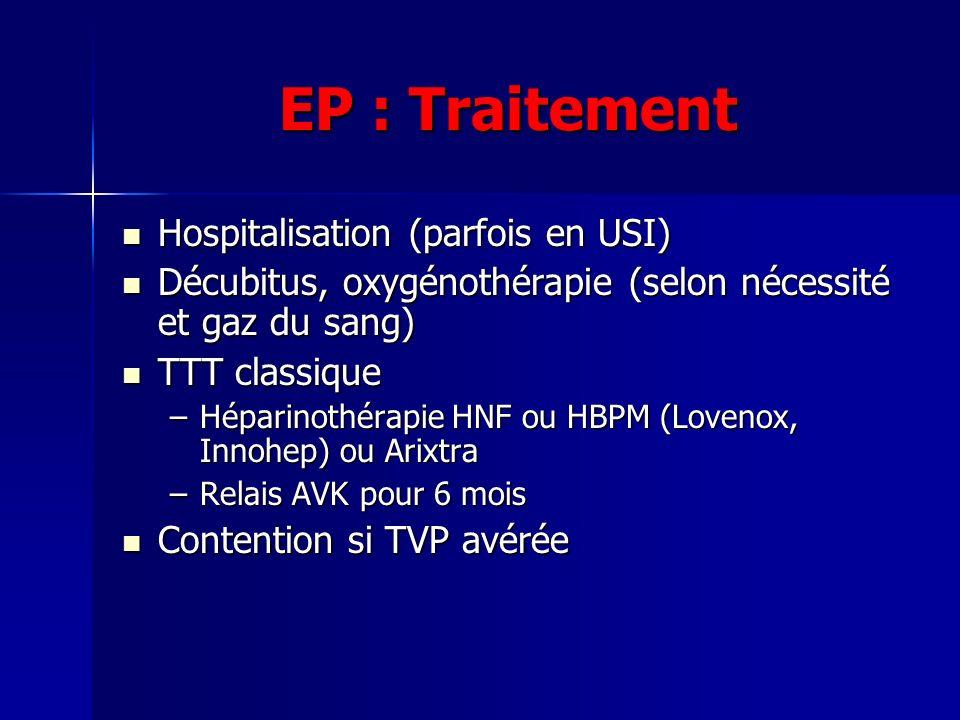 EP : Traitement Hospitalisation (parfois en USI) Hospitalisation (parfois en USI) Décubitus, oxygénothérapie (selon nécessité et gaz du sang) Décubitu