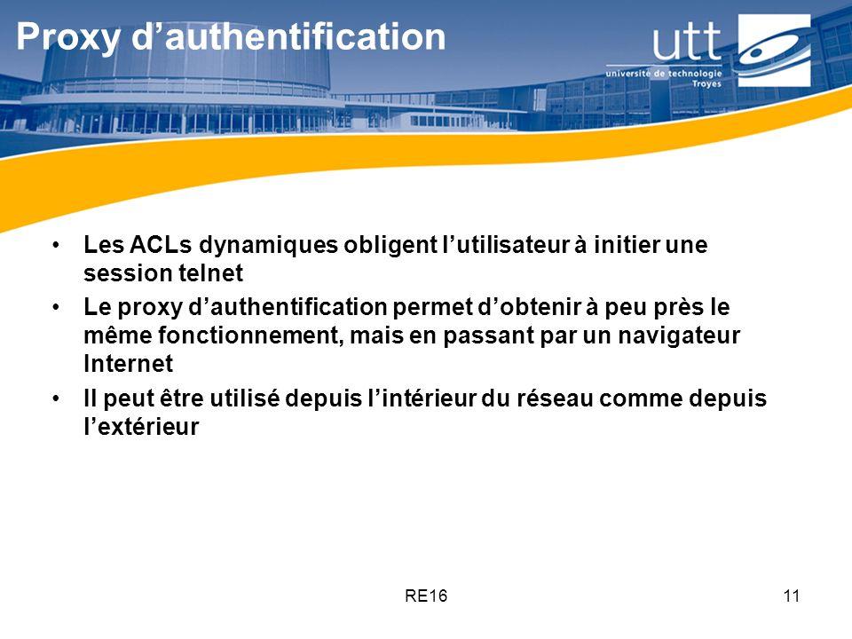 RE1611 Proxy dauthentification Les ACLs dynamiques obligent lutilisateur à initier une session telnet Le proxy dauthentification permet dobtenir à peu