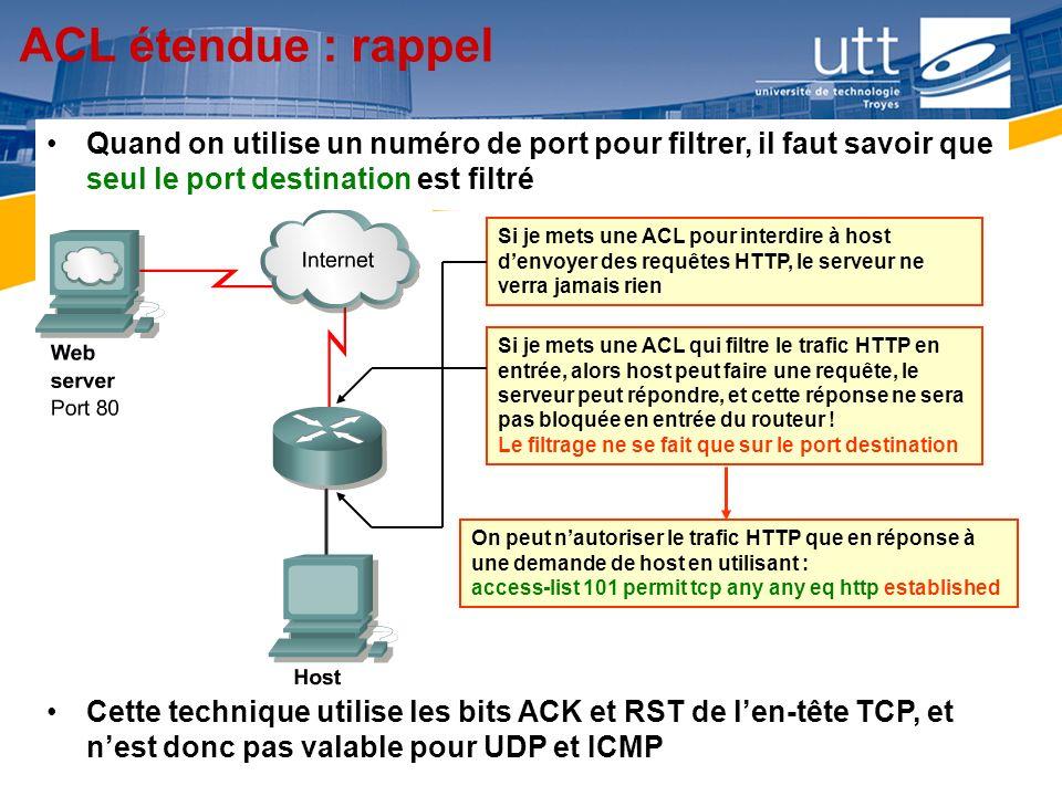 RE1615 ACL étendue : rappel Quand on utilise un numéro de port pour filtrer, il faut savoir que seul le port destination est filtré Si je mets une ACL