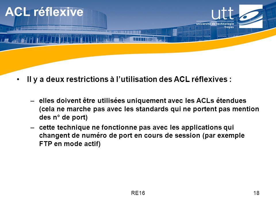 RE1618 ACL réflexive Il y a deux restrictions à lutilisation des ACL réflexives : –elles doivent être utilisées uniquement avec les ACLs étendues (cel