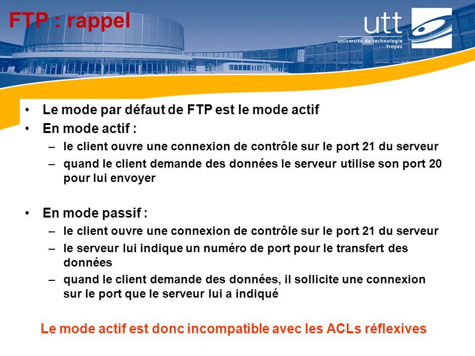 RE1619 FTP : rappel Le mode par défaut de FTP est le mode actif En mode actif : –le client ouvre une connexion de contrôle sur le port 21 du serveur –
