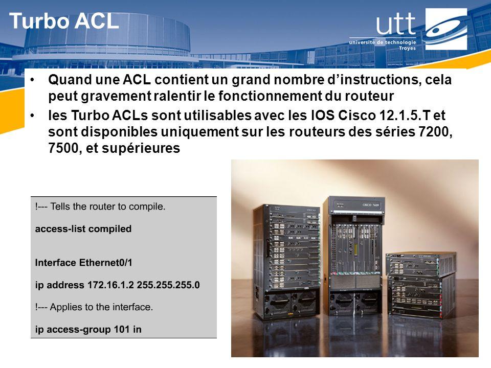 RE1624 Turbo ACL Quand une ACL contient un grand nombre dinstructions, cela peut gravement ralentir le fonctionnement du routeur les Turbo ACLs sont u