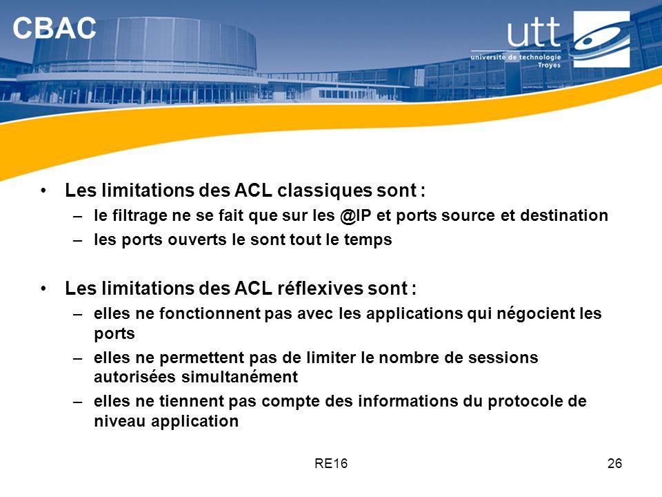 RE1626 CBAC Les limitations des ACL classiques sont : –le filtrage ne se fait que sur les @IP et ports source et destination –les ports ouverts le son