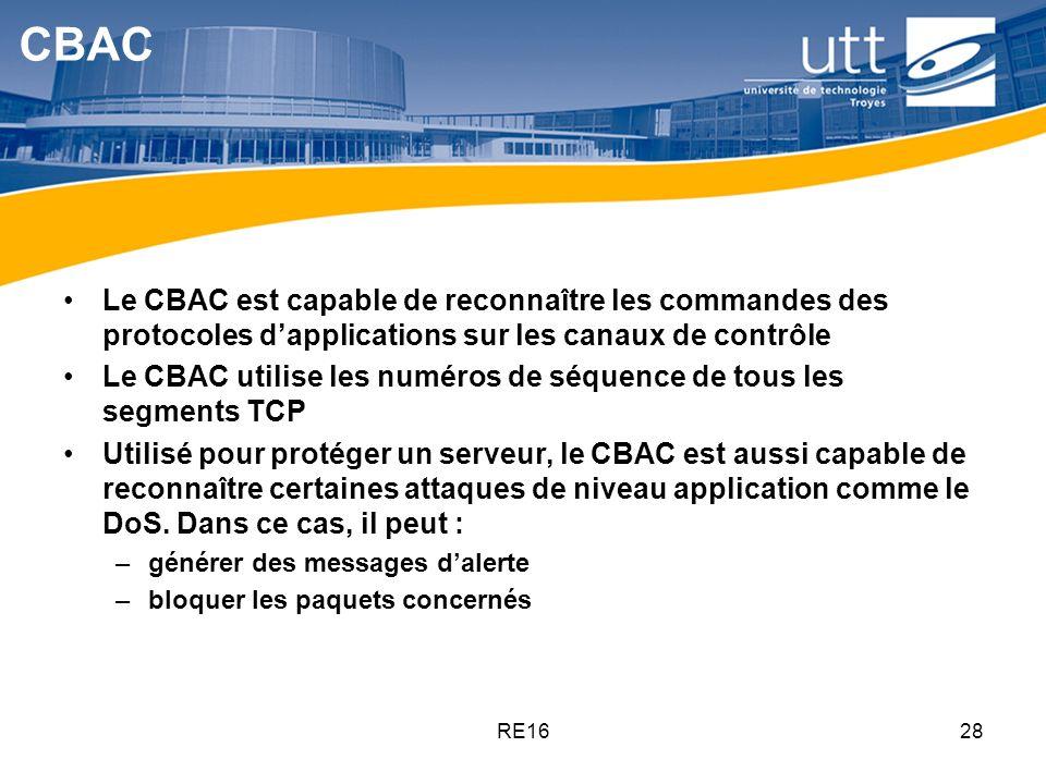 RE1628 CBAC Le CBAC est capable de reconnaître les commandes des protocoles dapplications sur les canaux de contrôle Le CBAC utilise les numéros de sé