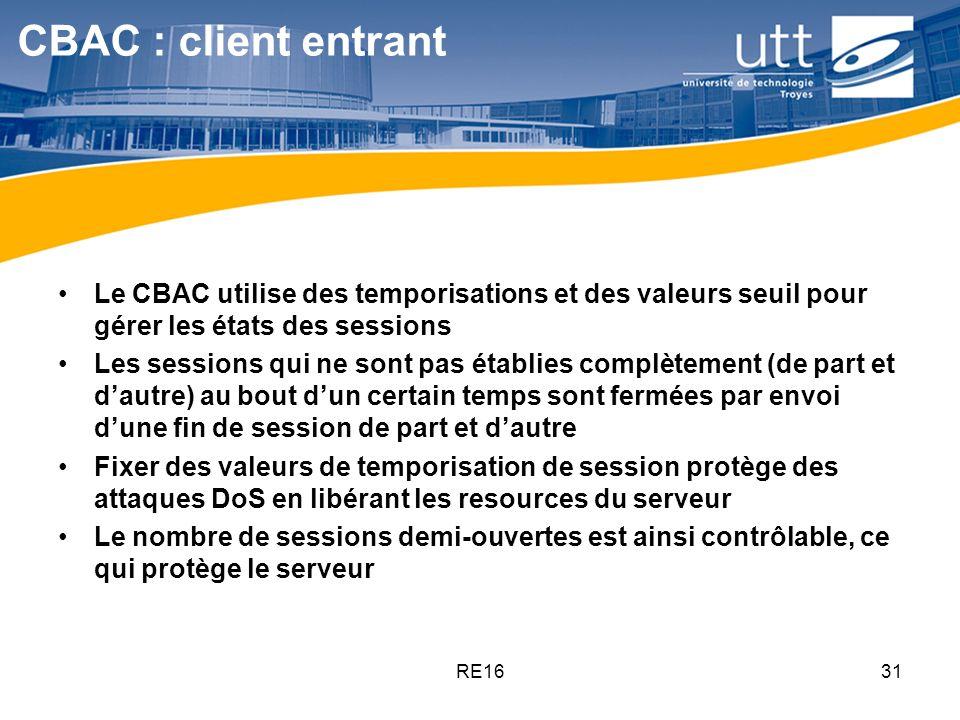 RE1631 CBAC : client entrant Le CBAC utilise des temporisations et des valeurs seuil pour gérer les états des sessions Les sessions qui ne sont pas ét