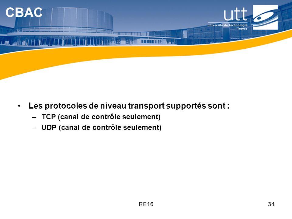 RE1634 CBAC Les protocoles de niveau transport supportés sont : –TCP (canal de contrôle seulement) –UDP (canal de contrôle seulement)