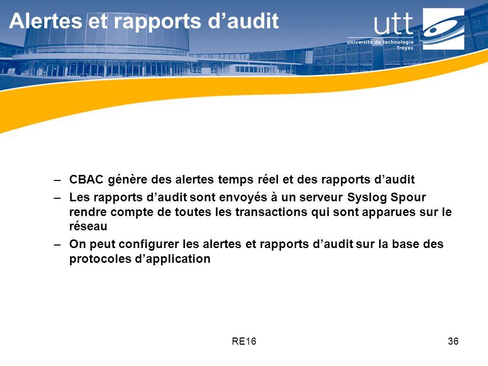 RE1636 Alertes et rapports daudit –CBAC génère des alertes temps réel et des rapports daudit –Les rapports daudit sont envoyés à un serveur Syslog Spo