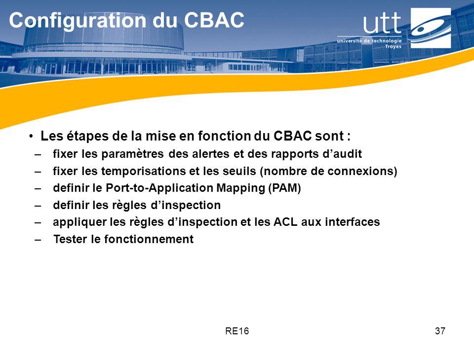 RE1637 Configuration du CBAC Les étapes de la mise en fonction du CBAC sont : – fixer les paramètres des alertes et des rapports daudit – fixer les te