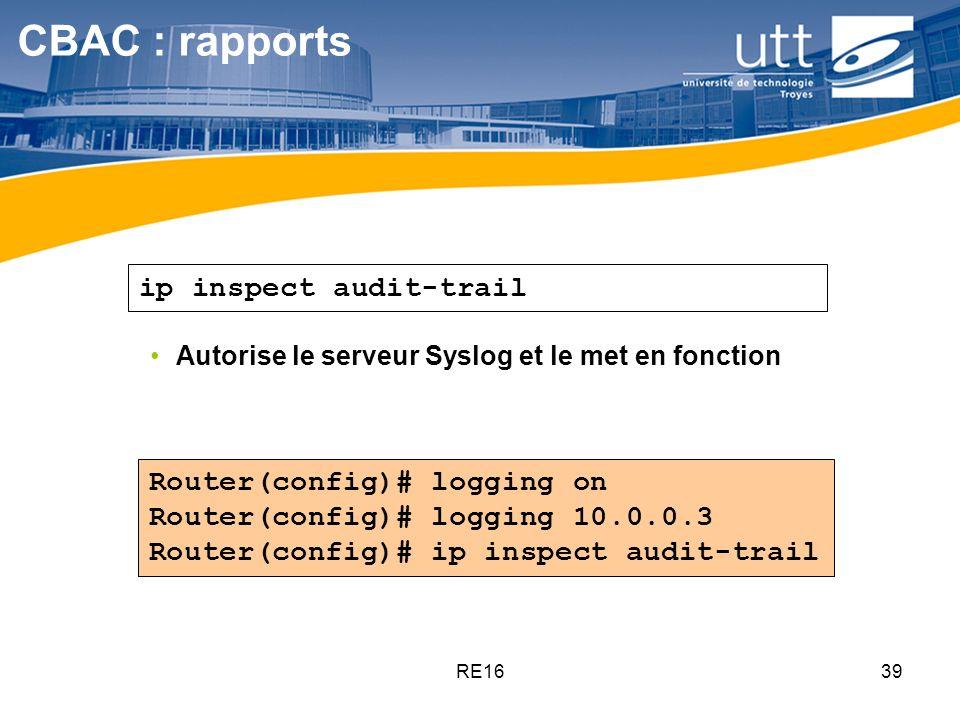 RE1639 Router(config)# logging on Router(config)# logging 10.0.0.3 Router(config)# ip inspect audit-trail Autorise le serveur Syslog et le met en fonc