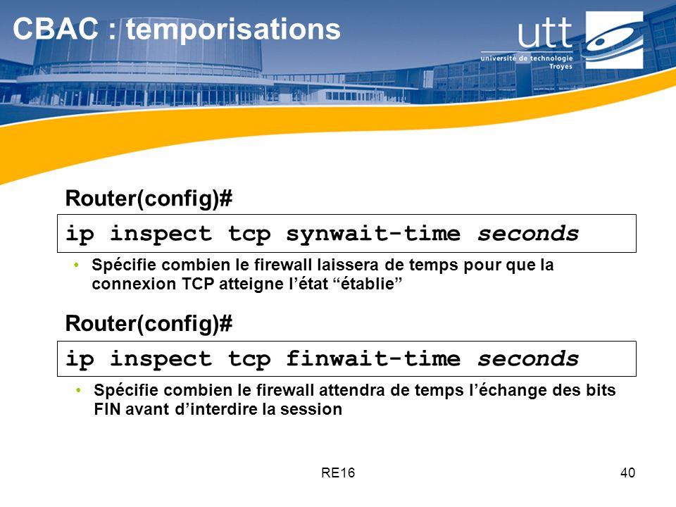 RE1640 ip inspect tcp synwait-time seconds ip inspect tcp finwait-time seconds Spécifie combien le firewall laissera de temps pour que la connexion TC