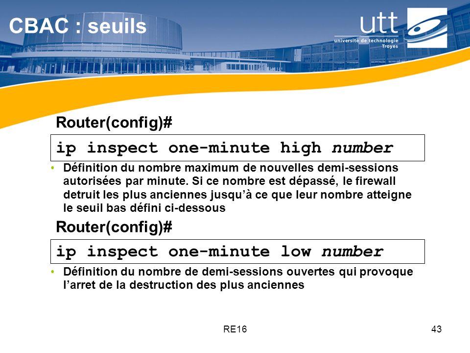 RE1643 ip inspect one-minute high number ip inspect one-minute low number Définition du nombre maximum de nouvelles demi-sessions autorisées par minut