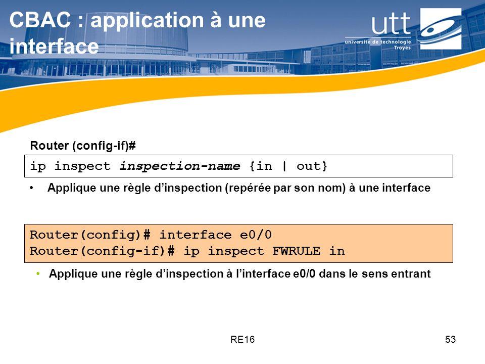 RE1653 ip inspect inspection-name {in | out} CBAC : application à une interface Applique une règle dinspection (repérée par son nom) à une interface R