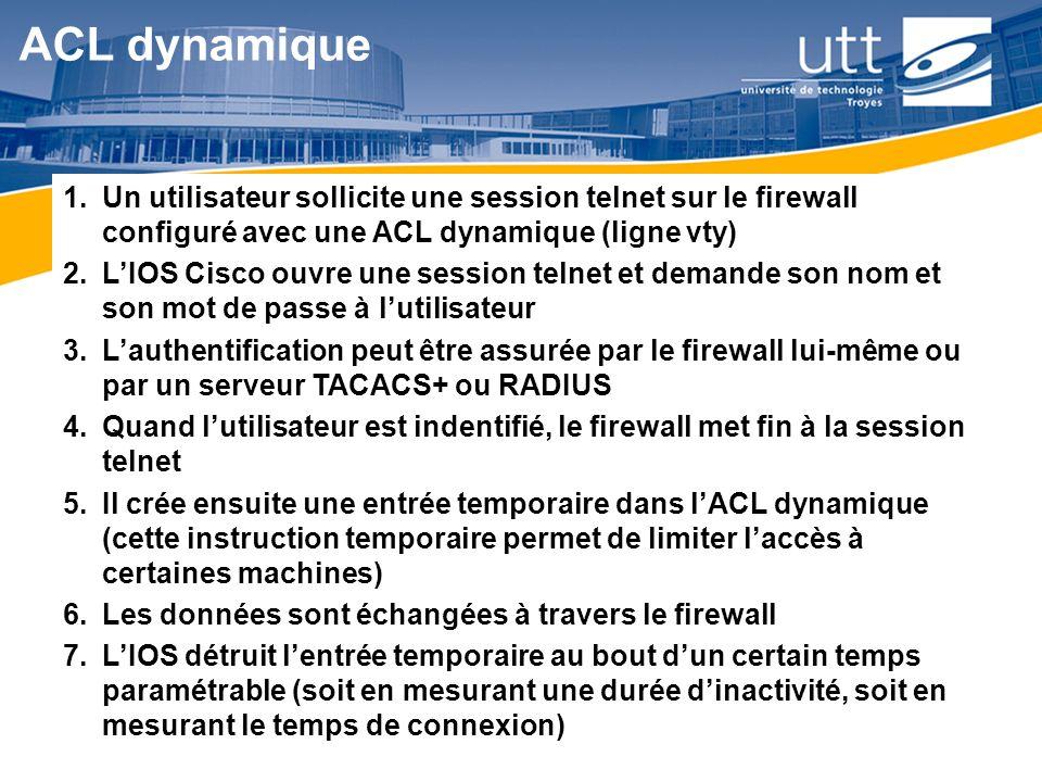 RE166 ACL dynamique 1.Un utilisateur sollicite une session telnet sur le firewall configuré avec une ACL dynamique (ligne vty) 2.LIOS Cisco ouvre une