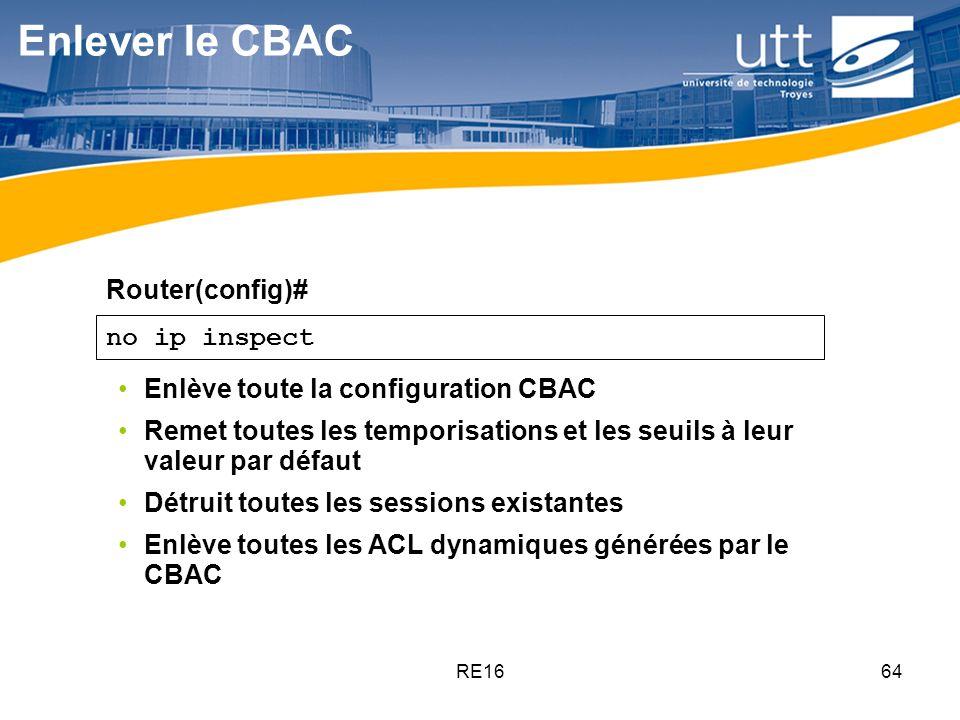 RE1664 no ip inspect Enlève toute la configuration CBAC Remet toutes les temporisations et les seuils à leur valeur par défaut Détruit toutes les sess