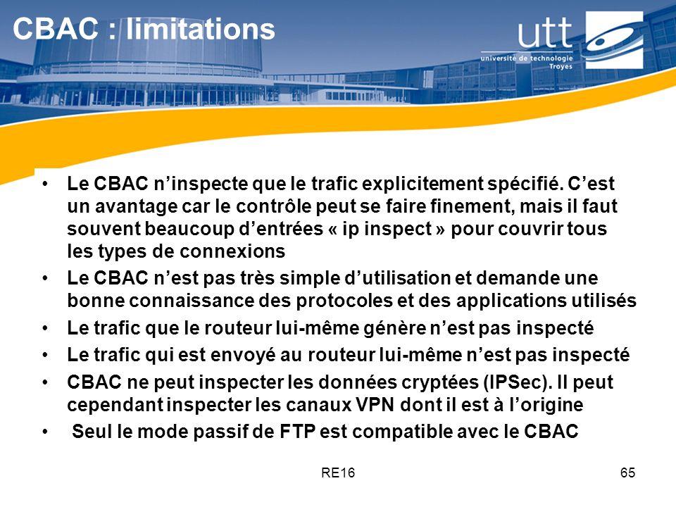 RE1665 CBAC : limitations Le CBAC ninspecte que le trafic explicitement spécifié. Cest un avantage car le contrôle peut se faire finement, mais il fau