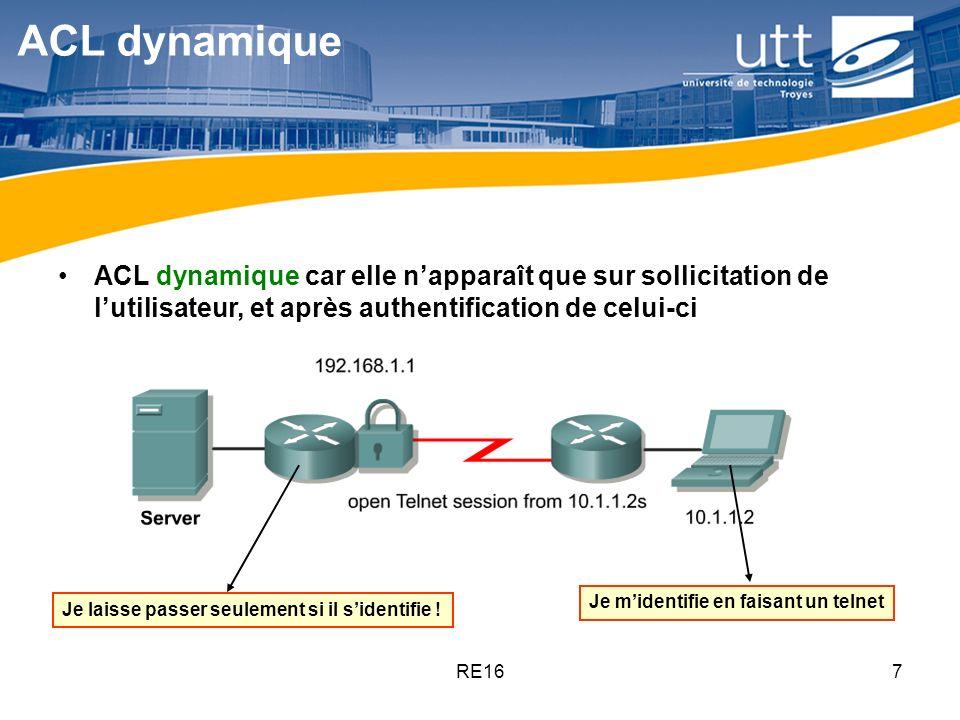 RE167 ACL dynamique ACL dynamique car elle napparaît que sur sollicitation de lutilisateur, et après authentification de celui-ci Je laisse passer seu