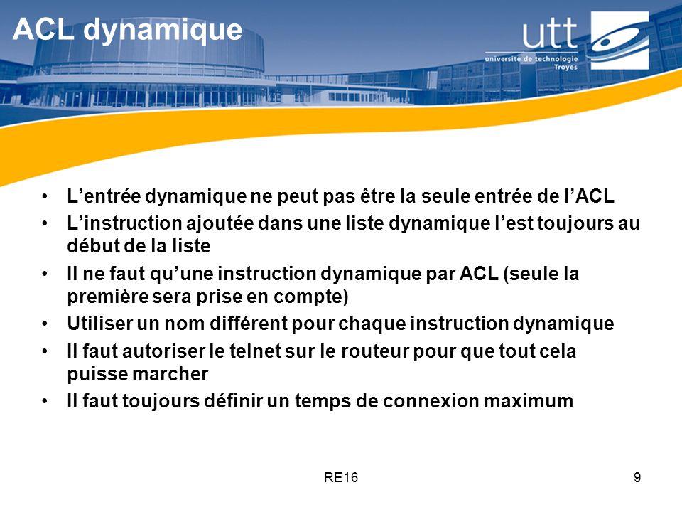 RE169 ACL dynamique Lentrée dynamique ne peut pas être la seule entrée de lACL Linstruction ajoutée dans une liste dynamique lest toujours au début de