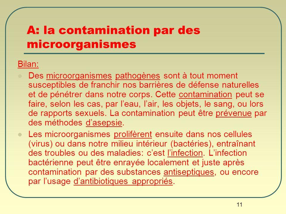 11 A: la contamination par des microorganismes Bilan: Des microorganismes pathogènes sont à tout moment susceptibles de franchir nos barrières de défe