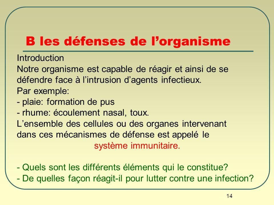 14 B les défenses de lorganisme Introduction Notre organisme est capable de réagir et ainsi de se défendre face à lintrusion dagents infectieux. Par e