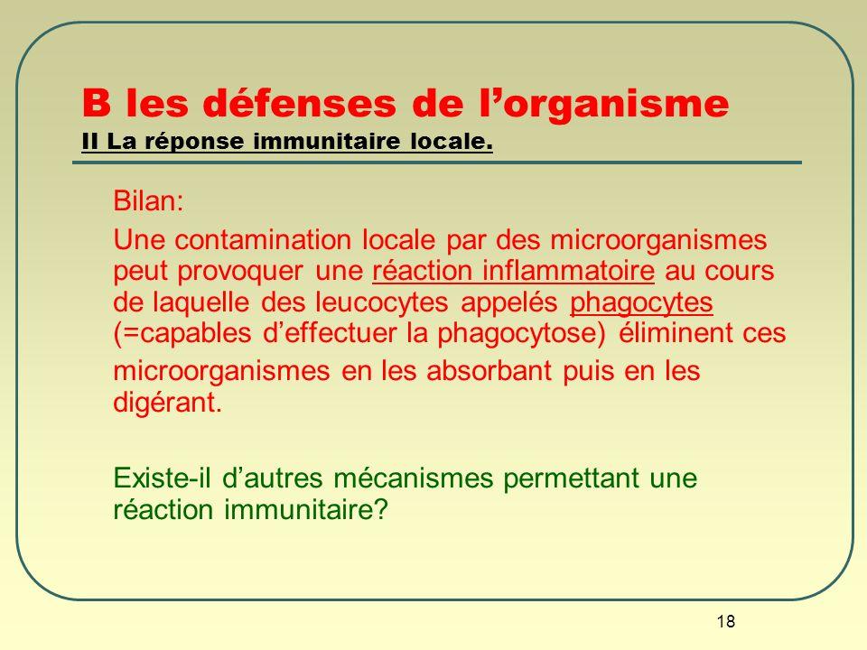 18 B les défenses de lorganisme II La réponse immunitaire locale. Bilan: Une contamination locale par des microorganismes peut provoquer une réaction