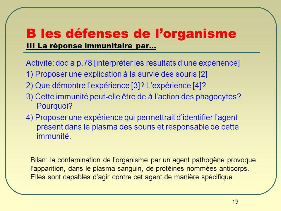 19 B les défenses de lorganisme III La réponse immunitaire par… Activité: doc a p.78 [interpréter les résultats dune expérience] 1) Proposer une expli